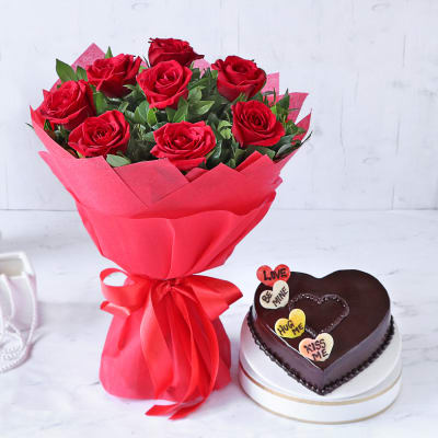 Bouquet of Red Roses with Valentine Heart Chocolate Cake