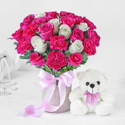 Bouquet of Rose and Carnations with Teddy Bear