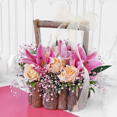 Bouquet of Roses & Lilies in Wooden Basket