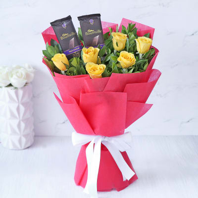 Bouquet of Yellow Roses with 2 Cadbury Bournville