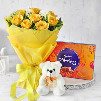 Bouquet of Yellow Roses with Cadbury Celebrations & Teddy