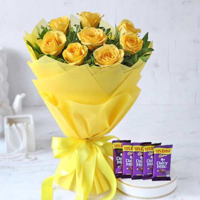 Bouquet of Yellow Roses with Cadbury Chocolates