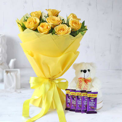 Bouquet of Yellow Roses with Cadbury Chocolates & Teddy