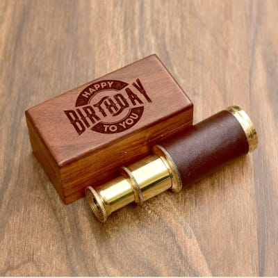 Brass and Leather Finish Telescope in Birthday Box