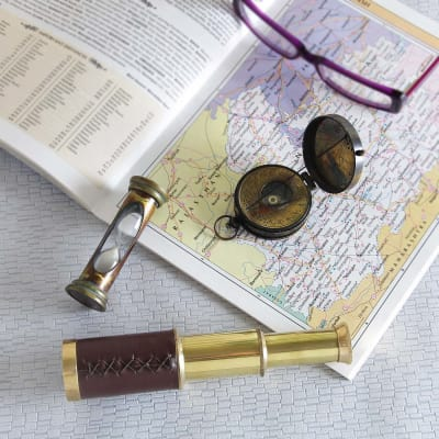 brass nautical navigation collectible tool set
