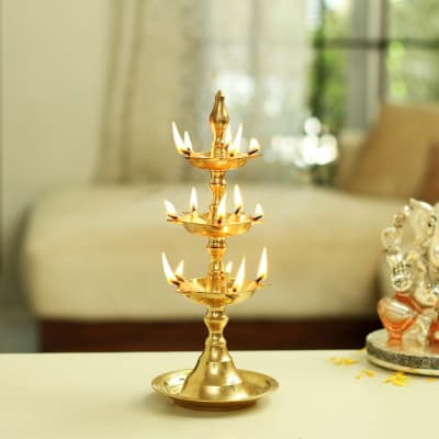 Brass Three Steps Metal Diya