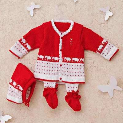 8c734d9b2b1 Bright Red Woolen Sweater With Socks   Cap for Baby Boy