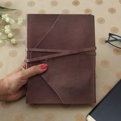 Brown Designer Leather Notebook With Handmade Paper