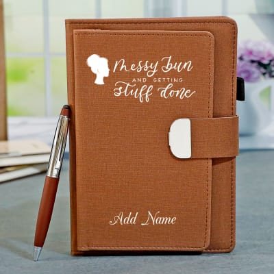 Brown Personalized Diary with Pen