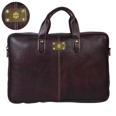 Brown Sleek Christopolo Laptop Bag - Customizable with Logo
