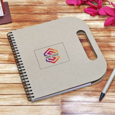 Brown Spiral Notepad with Sticky Notes & Pen- Customized with Logo