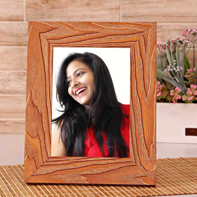 7b496db68462 Brown Wooden Personalized Photo Frame