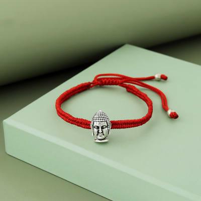 Buddha Oxidised Sterling Silver Bracelet Rakhi