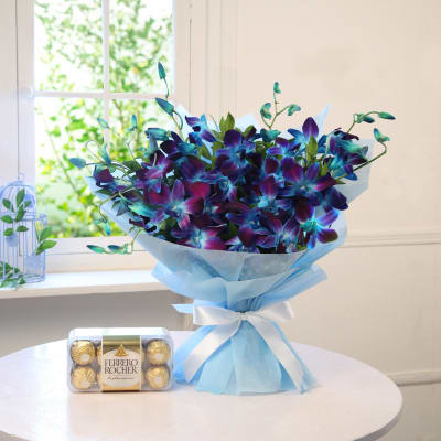 Bunch Of 10 Blue Orchids With 16pc Ferrero Rocher