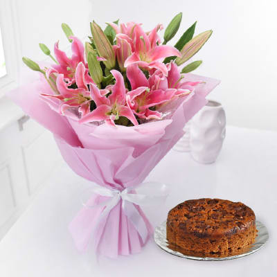 Bunch of 10 Lilies with Whole Wheat Orange Chocolate Cake (Half Kg)