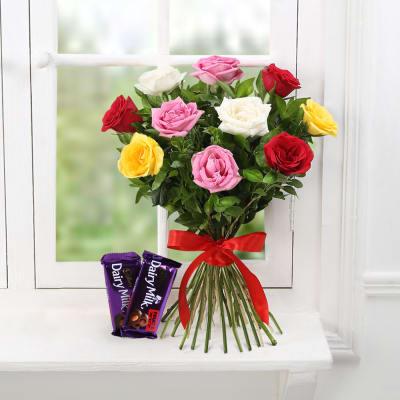 Bunch of 10 Mix Colour Roses & Cadbury Dairy Milk Fruit & Nut