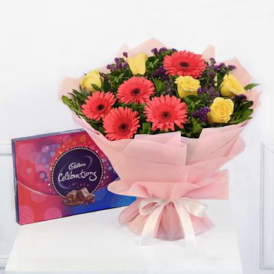 Bunch Of 10 Mix Flowers With Cadbury Celebrations