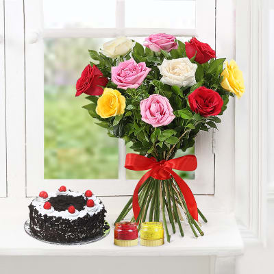 Bunch of 10 Mix Roses with Half Kg Black Forest Cake and Holi Colors