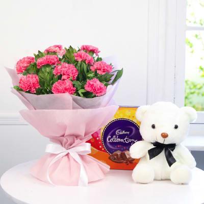 Bunch of 10 Pink Carnations with Teddy & Cadbury Chocolates
