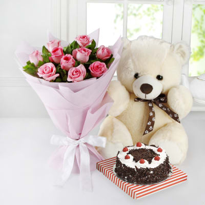 Bunch Of 10 Pink Roses Half Kg Black Forest Cake With 12 Inches Teddy