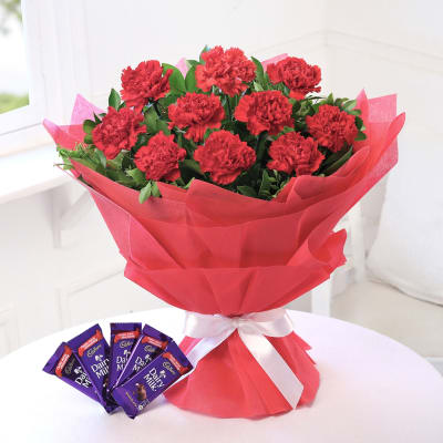 Bunch Of 10 Red Carnations With 5 Bars Cadbury Dairy Milk