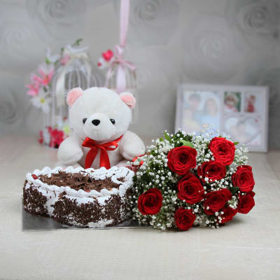 Bunch of 10 Red Roses & 1.5 Kg Black Forest Cake with 12 Inches Teddy