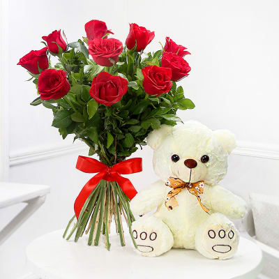e4e3c7bc20019 Flowers with Teddy Bears  Send Teddy with Flowers Online Delivery ...