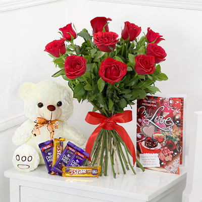Bunch Of 10 Red Roses With Teddy Bear Assorted Chocolates
