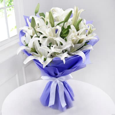 Bunch of 10 White Lilies in Tissue