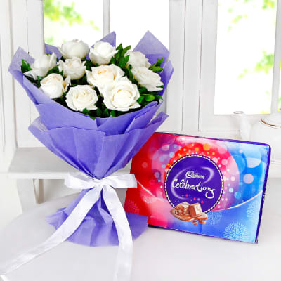 Bunch Of 10 White Roses With Celebrations