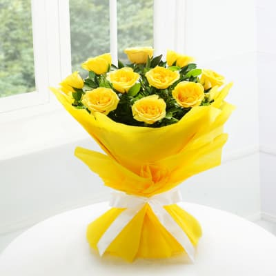 Bunch Of 10 Yellow Roses In Tissue Wrapping