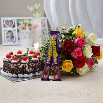 Bunch Of 12 Mix Roses With Munch Black Forest Cake Half
