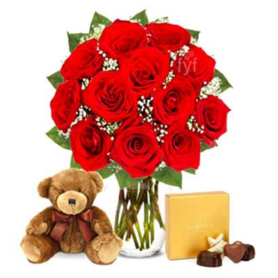 Bunch of 12 Roses with Godiva Chocolates & Teddy Bear