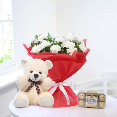 Bunch of 15 White Carnations with a Teddy & Box of Ferrero Rocher