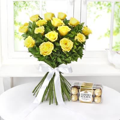 Bunch of 15 Yellow Roses with Ferrero Rocher