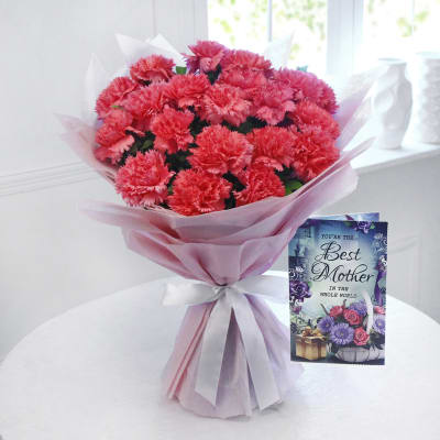 Bunch of 20 Pink Carnations with a Card