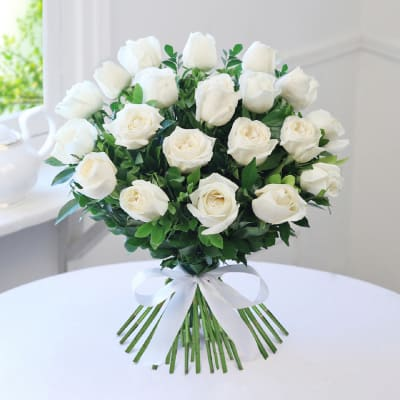 Buy white flowers online order white color flowers get same day bunch of 20 white roses mightylinksfo