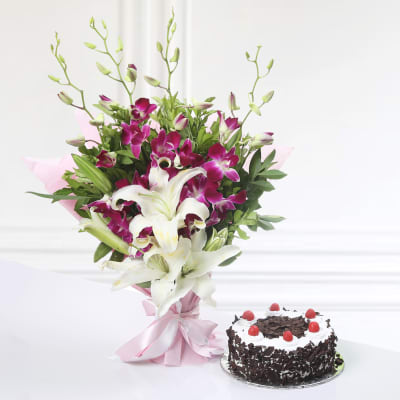 Bunch Of 4 Purple Orchids 2 Lilies With Black Forest Cake Half