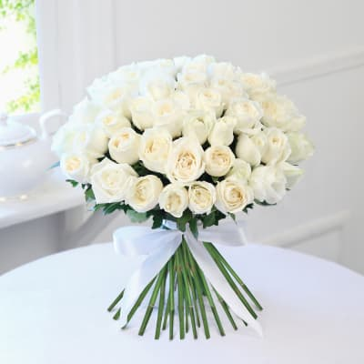 Buy white flowers online order white color flowers get same day bunch of 50 white roses mightylinksfo