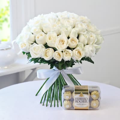 Buy white flowers online order white color flowers get same day bunch of 50 white roses with ferrero rocher mightylinksfo