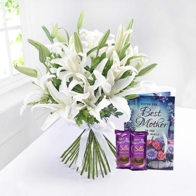 Bunch of 6 Pretty Lilies with Chocolate Bars and Card