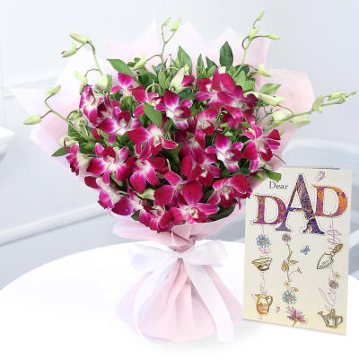 Bunch of 6 Purple Orchids with Card