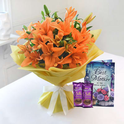 Bunch of Beautiful Orange Asiatic Lilies with Chocolate Bars & Card