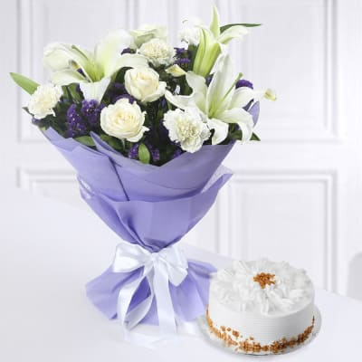 Bunch Of Mixed Flowers With Butterscotch Cake Half Kg
