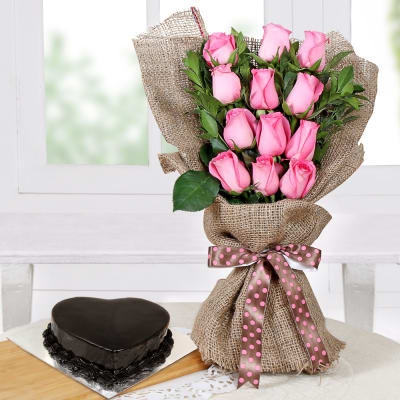 Bunch of Pretty Roses with Cake