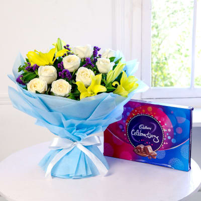 Bunch of Roses & Lilies with Cadbury Celebrations