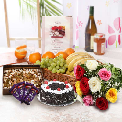 Bunch of Roses with Black Forest Cake (Eggless) & Mixed Fruits Hamper