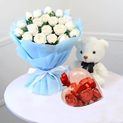 Bunch of Roses with Teddy & Chocolates