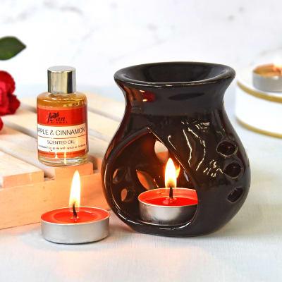 Burner & Tea Light Candle Set with Fragrance Oil - Apple & Cinnamon