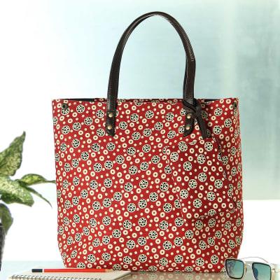 Buta Motif Designer Handbag with Zipper Pouch